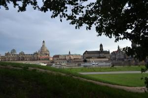 Overview of Old Town Dresden from across the Elbe River