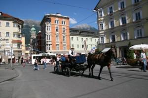 Horse and carriage, Old Town, Innsbruck, Austria, Europe.