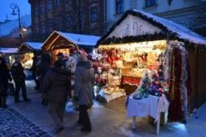 Kosice, Slovakia Christmas Market at night