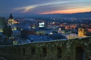 Trencin, Slovakia city lights from the Trencin Castle