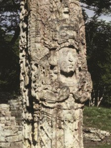 Stone portraits, or stelae, line the central plaza in Copan, Honduras.