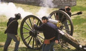A re-enactment at Fort Scott, a frontier military outpost.
