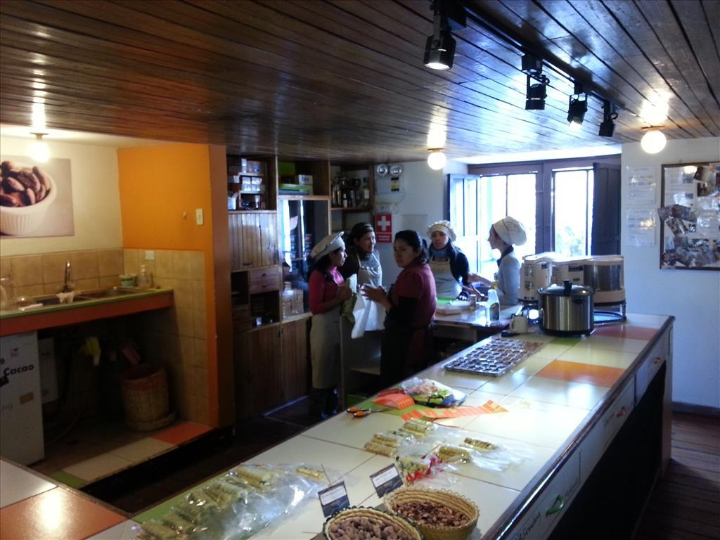 Preparing for a cooking class at the Chocolate Museum, Cusco. Photo by Lance Harrell
