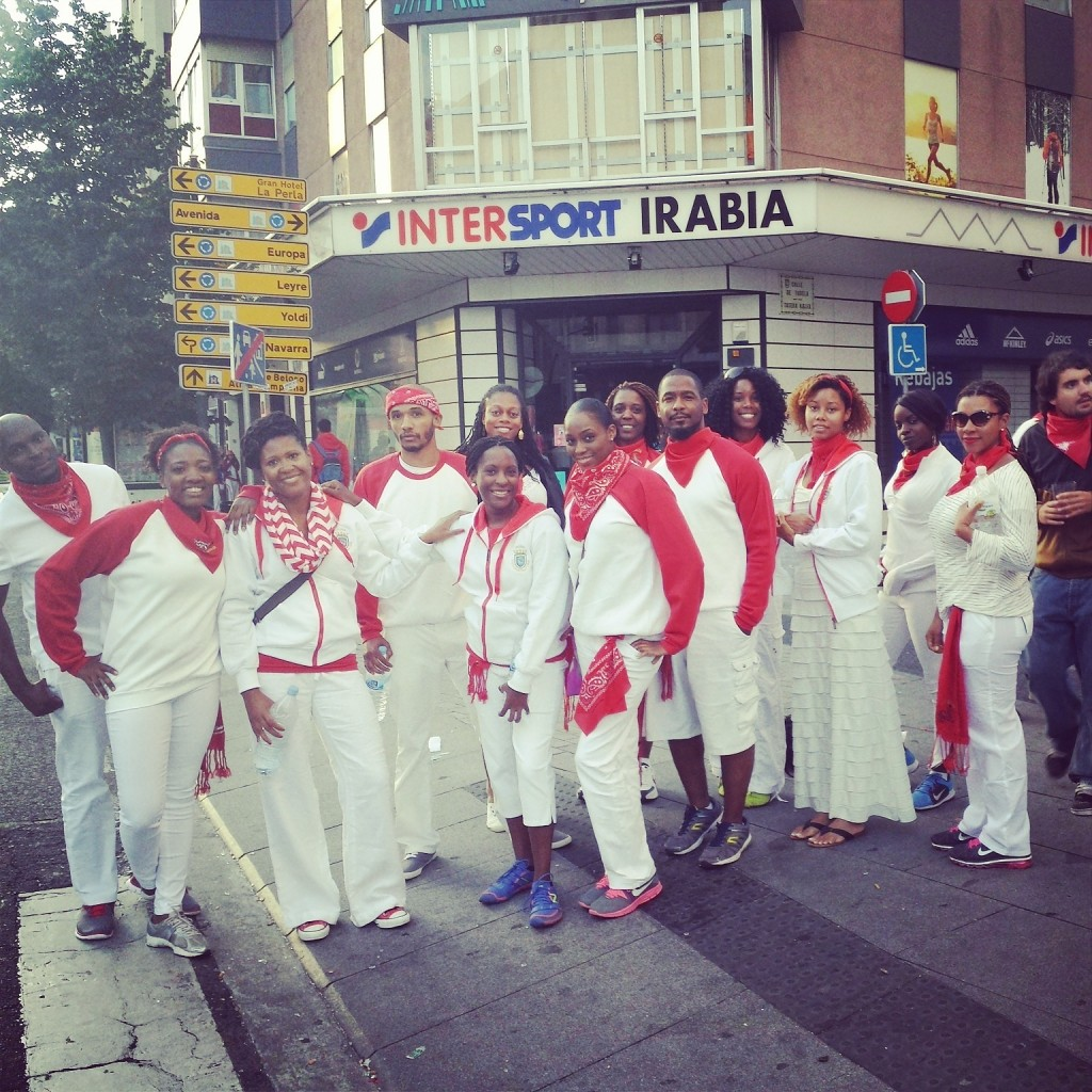 Barcelona Nomadnessx group went running with the bulls in Pamplona, Spain, July 2014