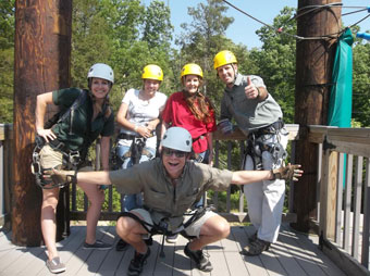 Pam and her crew take time out to try Ziplining, one of Branson's many outdoor activities