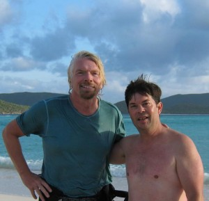Tourism Tim Warren and Sir Richard Branson on Necker Island in the BVI's