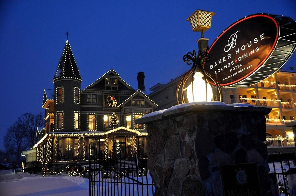 Lake Geneva's Baker House, dressed in holiday lights, delights December visitors.