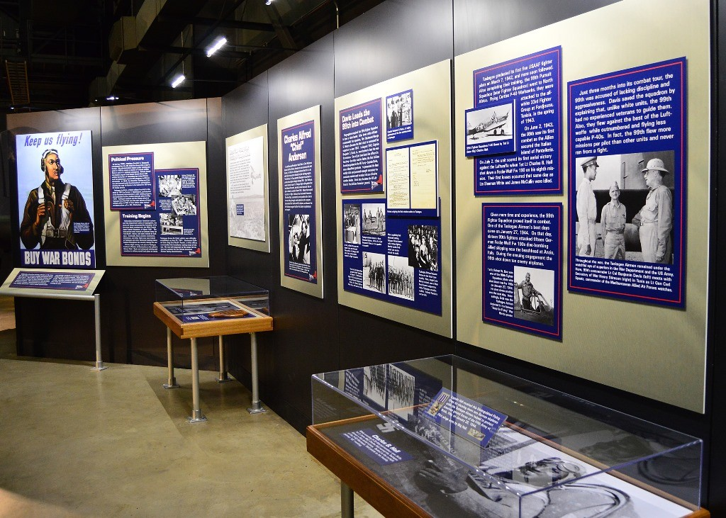 A general view of the Tuskegee Airmen Exhibit in the WWII Gallery at the National Museum of the U.S. Air Force. Credit: U.S. Air Force