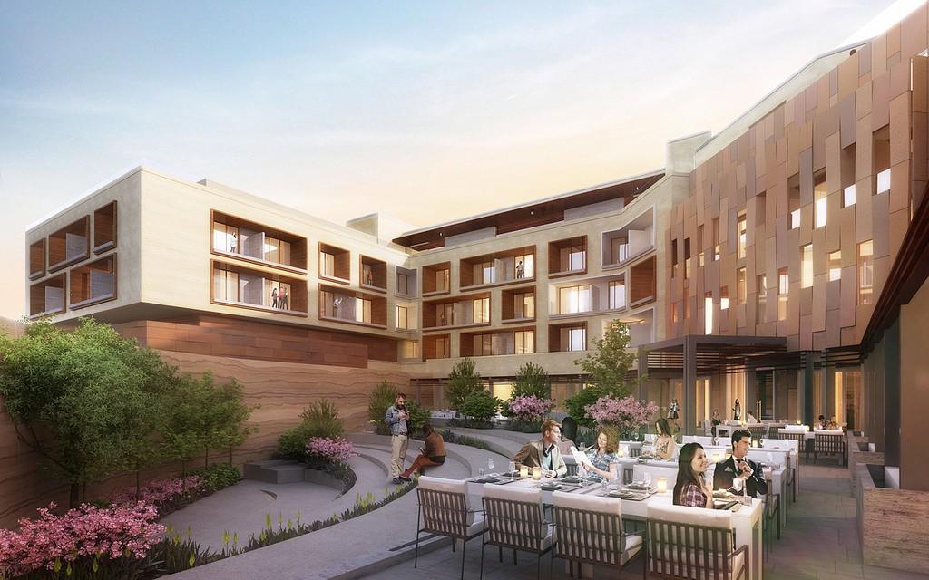 New Heritage Hotel in Old Town Albuquerque Garden Courtyard Rendering by Gensler