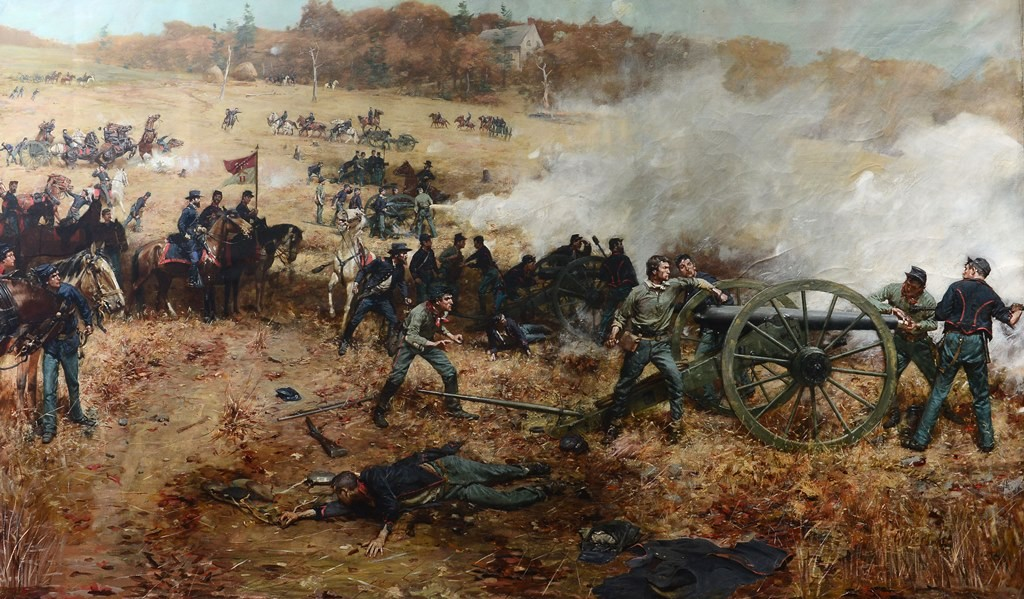 Gilbert Gaul. Battle-H-1st Ohio Volunteers Light Artillery in Action at Cold Harbor. Lent by the Oregon-Jerusalem Historical Society. Credit: Toledo Museum of Art