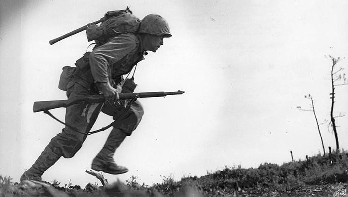 US Marine Paul E. Ison runs through Death Valley May 3, 1945
