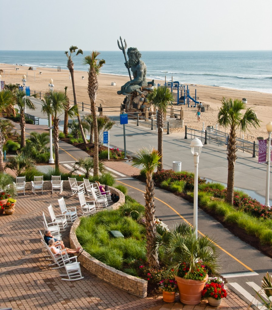 Resort Beach oceanfront boardwalk and the King Neptune. Credit: Virginia Beach CVB