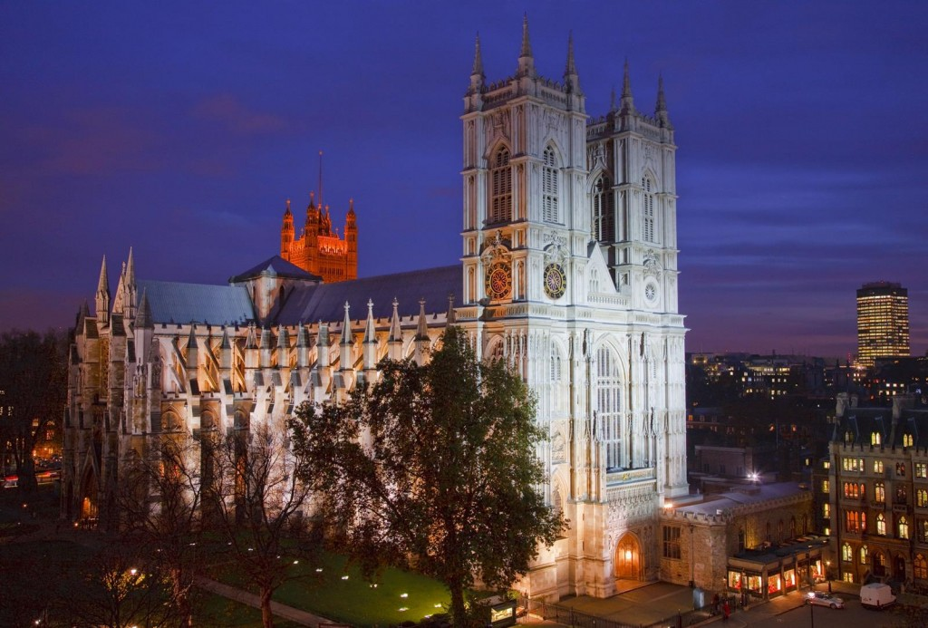 Westminster Abbey lit up at night