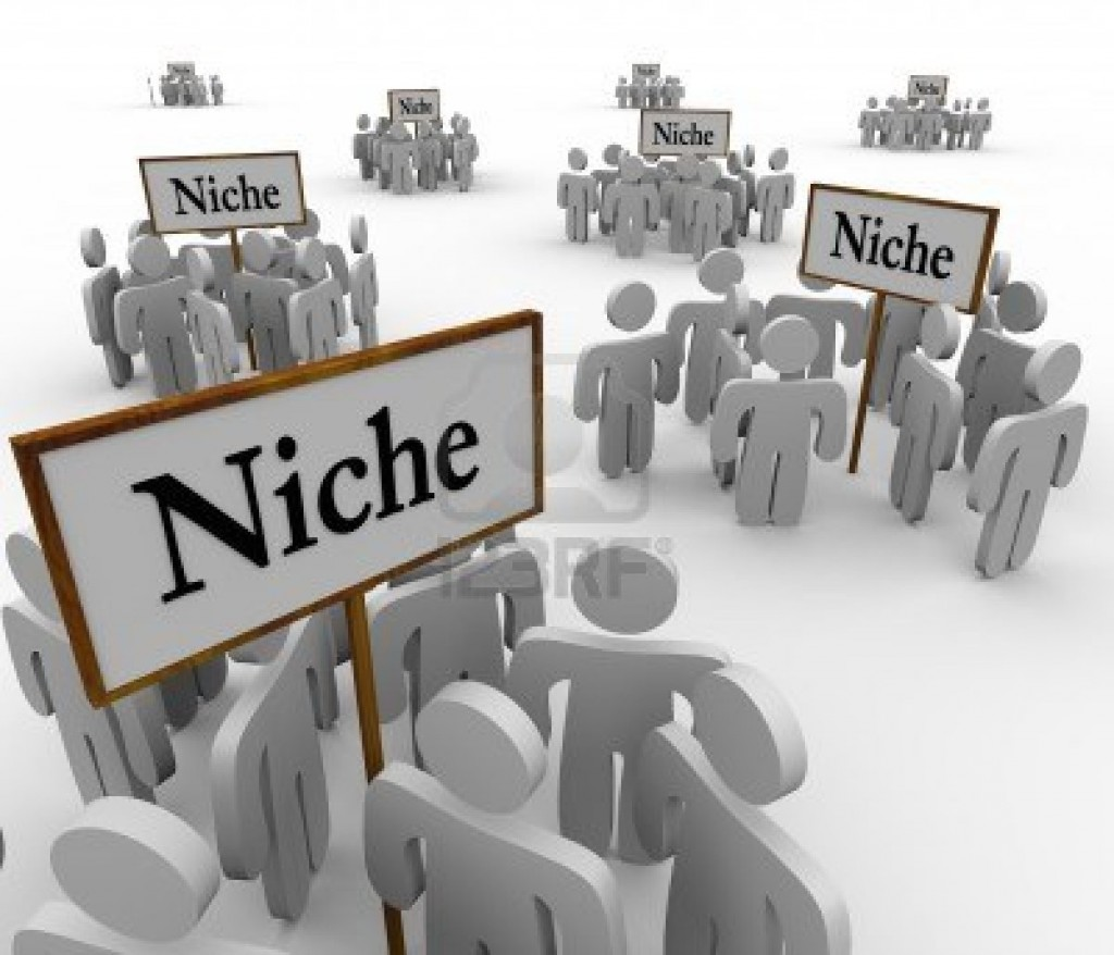 16515451-several-groups-of-people-in-niche-markets-gathered-around-signs-gathering-them-into-niches