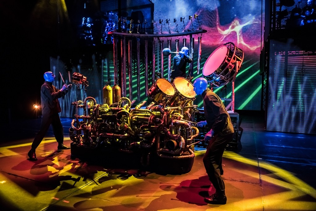 Blue Man Group performs on its new instrument, the Kleinulum, at Monte Carlo Resort and Casino. Credit: Blue Man Group