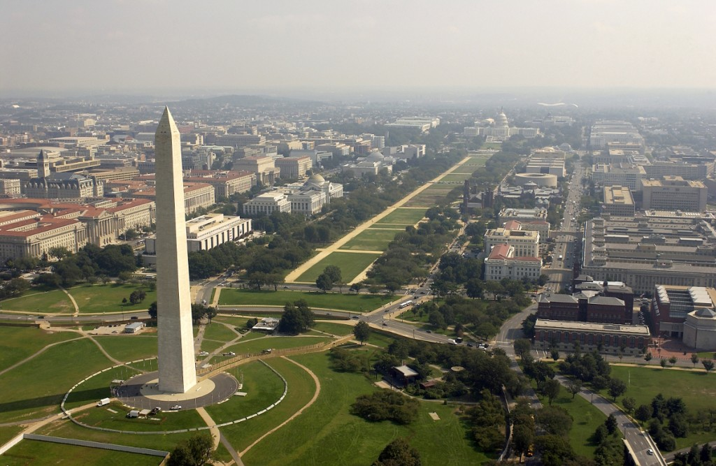 Washington, D.C. (Sept. 26, 2003) -- Aerial view of the Washington Monument with the Capitol in the background. DoD photo by Tech. Sgt. Andy Dunaway. (RELEASED)