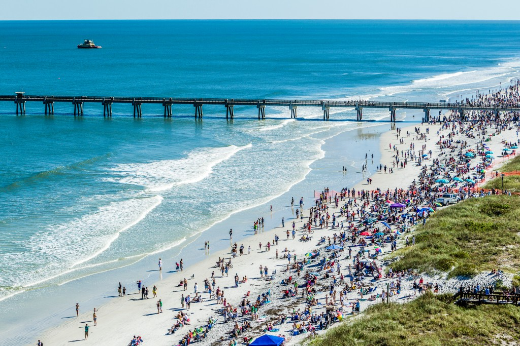 The Blue Angels perform at the Sea and Sky Spectacular Air Show in Jacksonville Beach, Florida. Copyright and Credits Visit Jacksonville