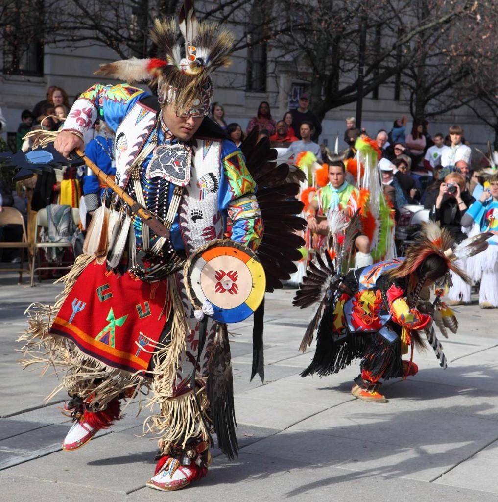 Cherokee dancers performing outdoors