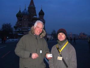 JM & Russian tour guide @ Kremlin showing off our Licenses