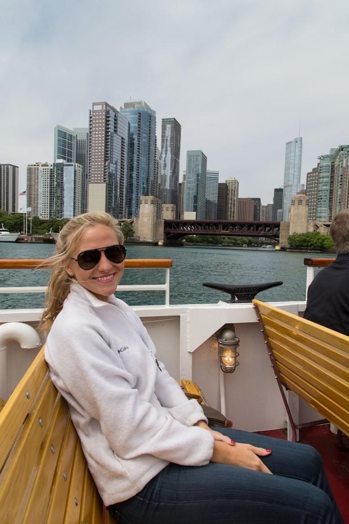 Enjoying my adventure on Shoreline Sightseeing's Architecture River Tour. Credit: Nicole Katzman