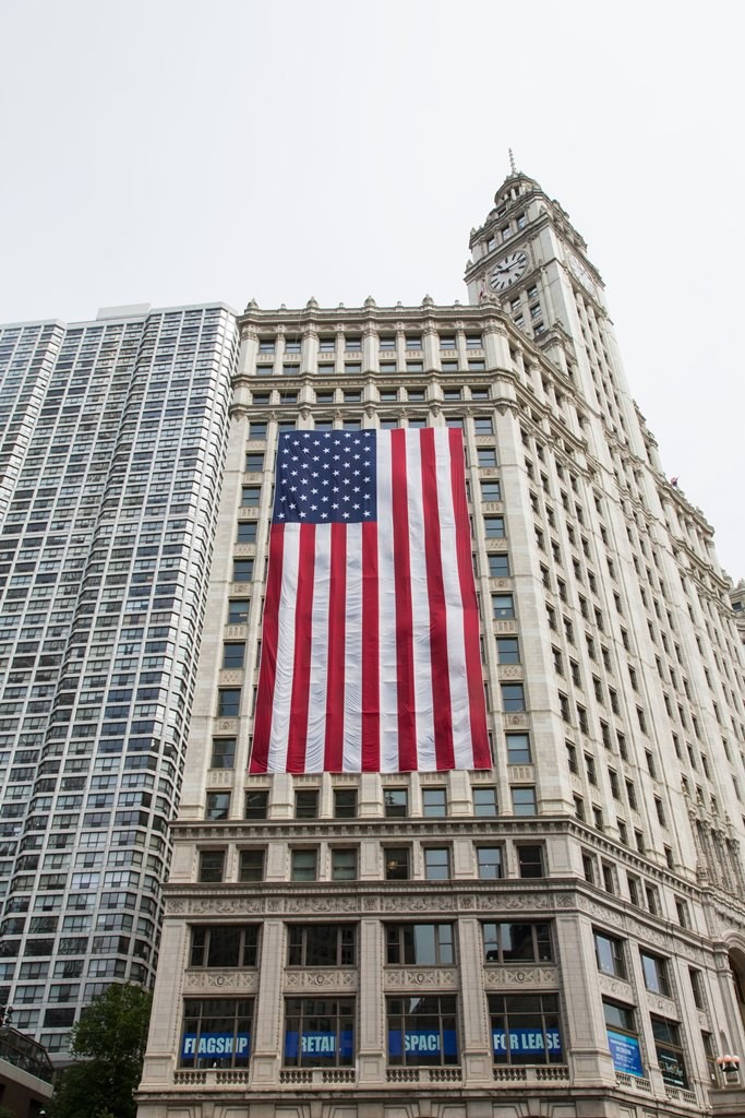 The Wrigley Building showing some American pride. Credit: Nicole Katzman