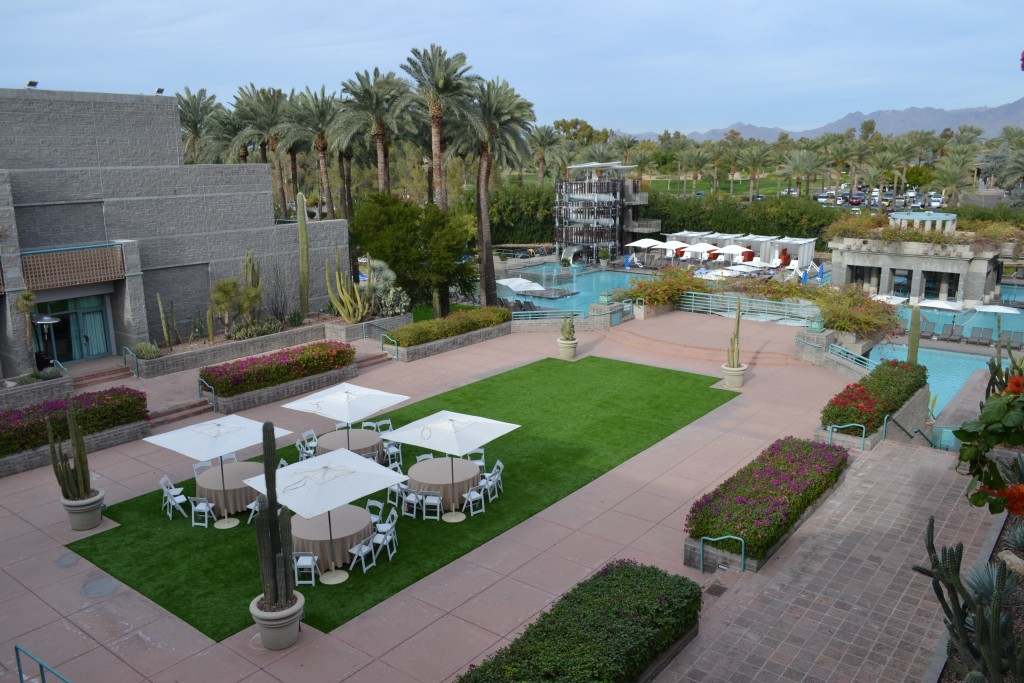 A large, inviting center court is featured at the Hyatt Regency Scottsdale Resort and Spa at Gainey Ranch by Don Heimburger