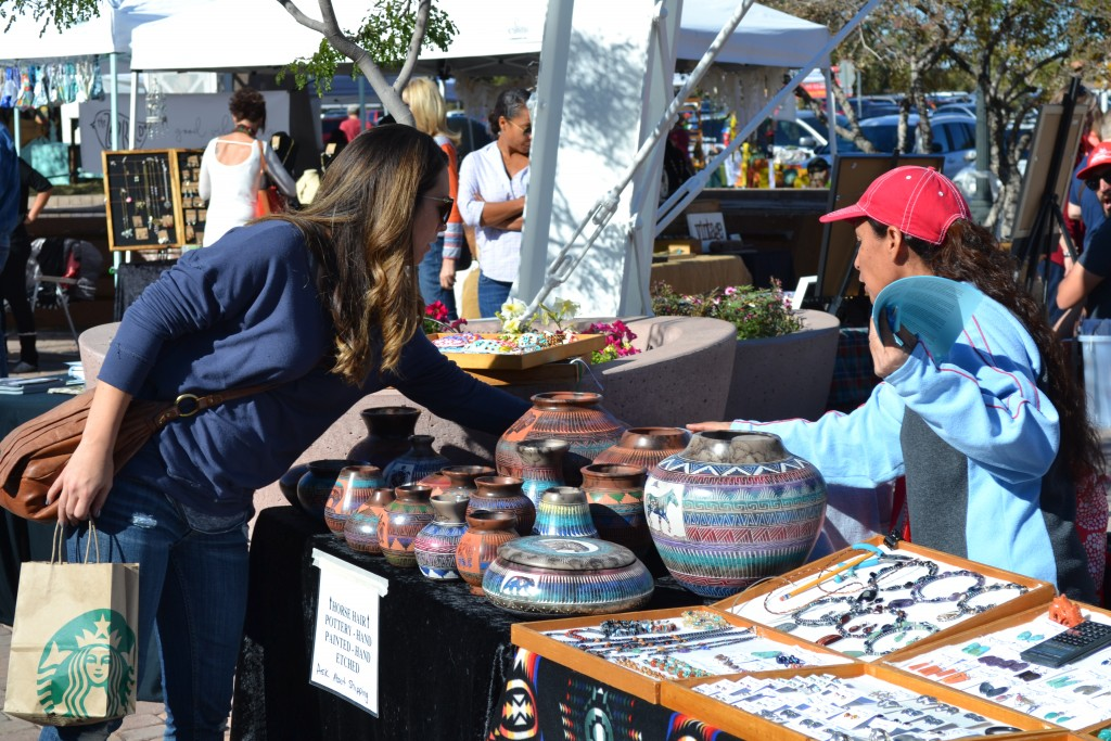 Gilbert's Art Walk and Farmers Market attracts hundreds of visitors looking for paintings, sculpture,calligraphy, photography, and jewelry by Don Heimburger