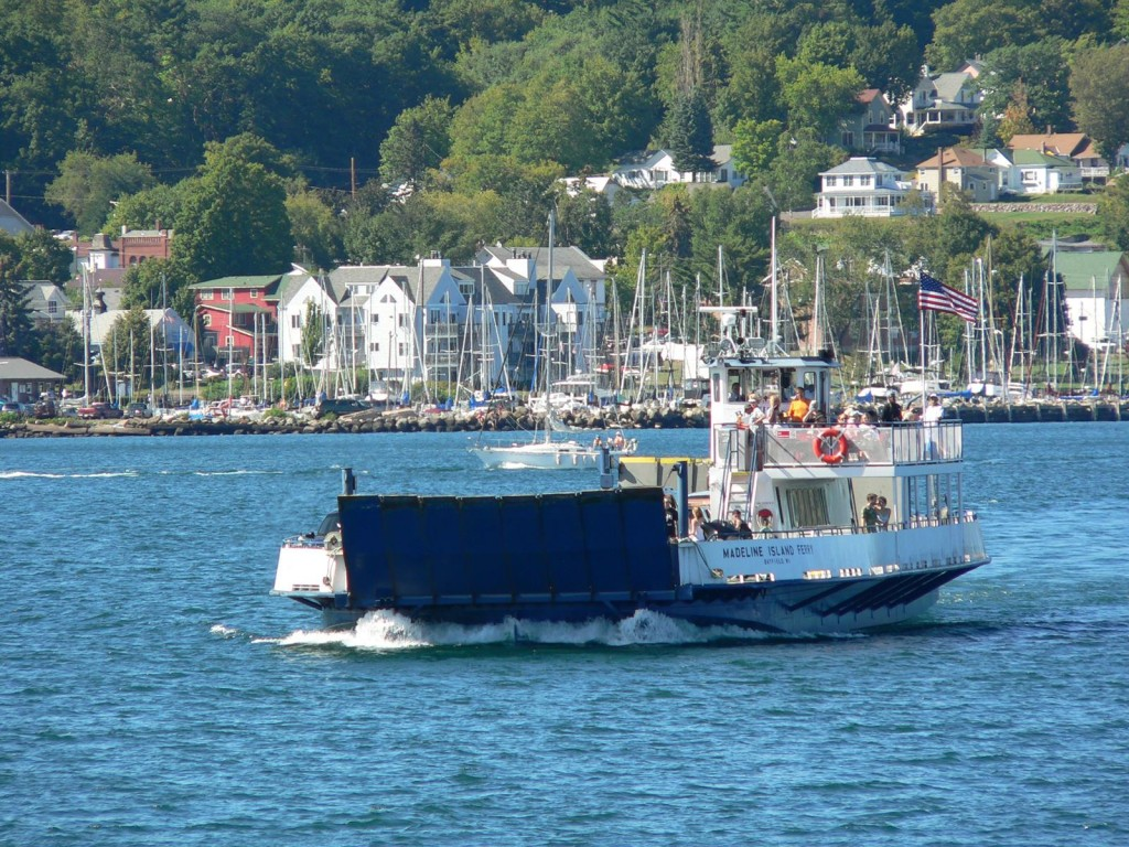 USE Madeline Island Ferry with Bayfield in background