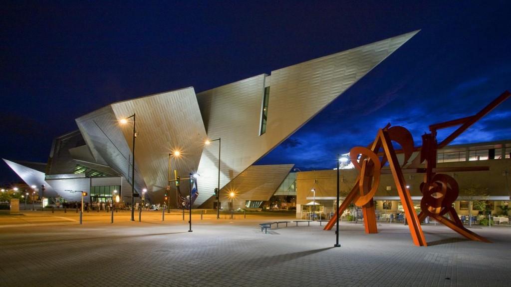 Denver Art Museum at night