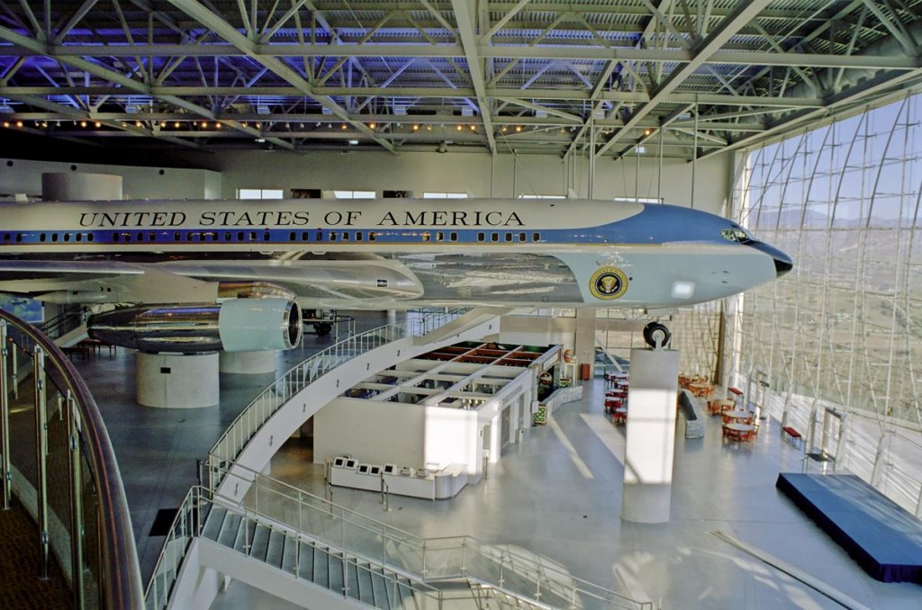 View of the inside of the Air Force One Pavilion at the Reagan Library