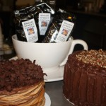 Chocolate cake and coffee bags in large bowl