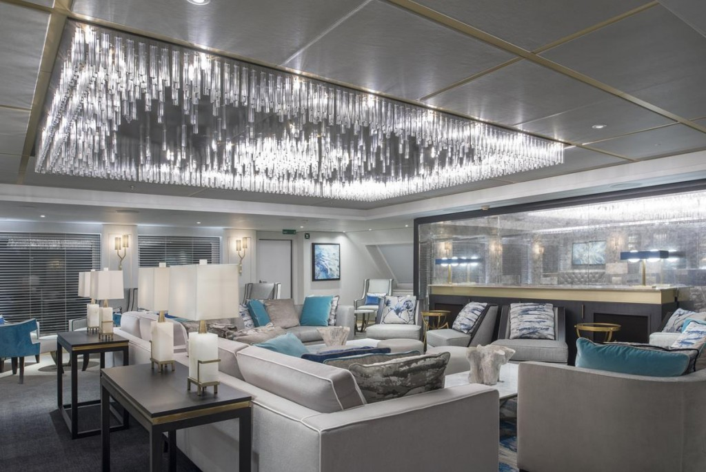 view of the Cove Lounge onboard