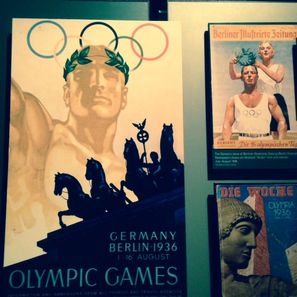 Posters and magazine covers promoting the Berlin Olympics are part of the exhibition.