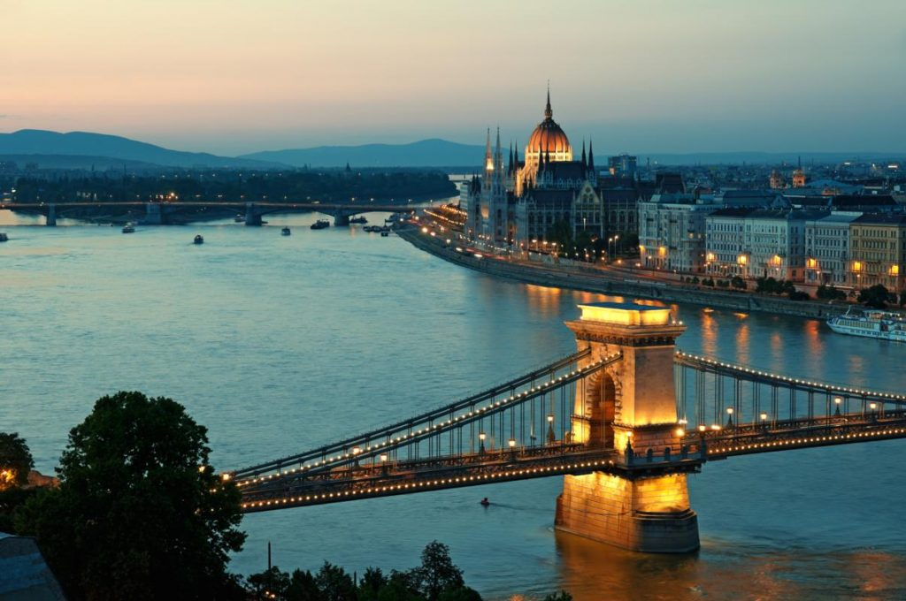 Budapest skyline by night