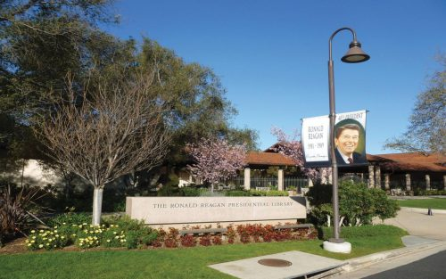 View of main entrance and Reagan Library sign