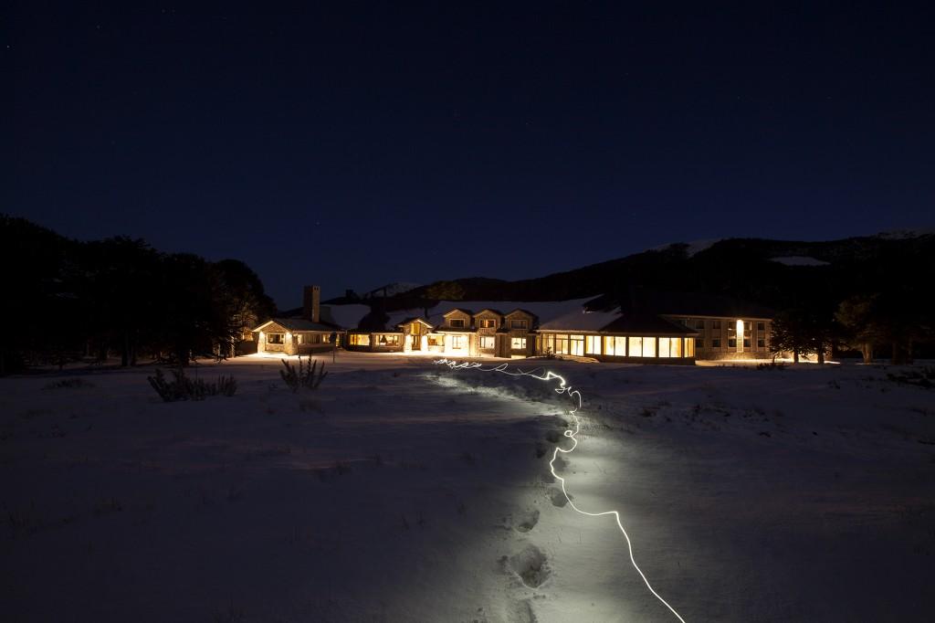Corralco resort at night