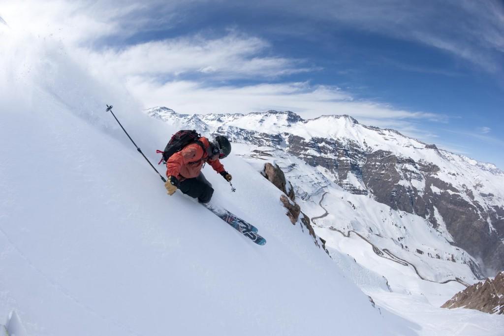 Skier w: hotel in background