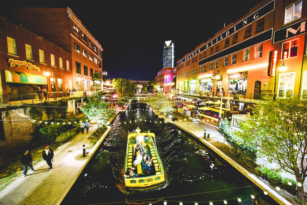 In Bricktown A Former Warehouse District Filled With Restaurants And Nightlife Options Hop Aboard Water Taxi Cruise The Mile Long
