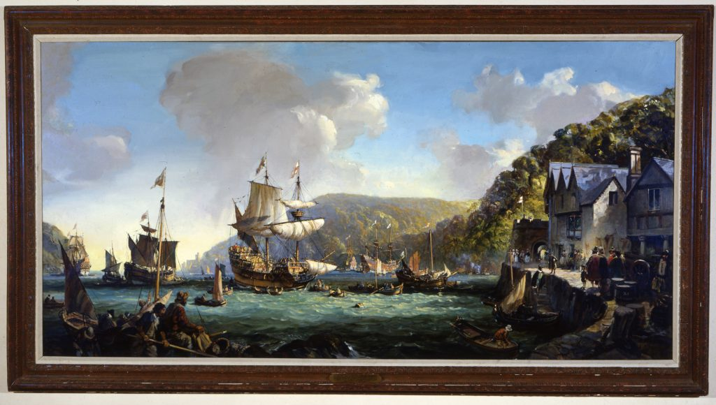 The Mayflower and Speedwell in Dartmouth Harbor, Leslie Wilcox, 1971, Image Courtesy of Pilgrim Hall Museum, Plymouth Massachusetts.