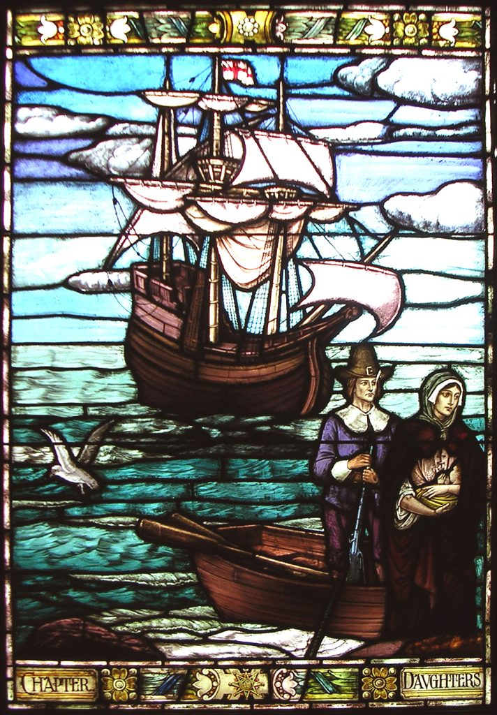 Stained Glass Window Depicting the Landing of the Mayflower, Harry Goodhue, 1921, Image Courtesy of Pilgrim Hall Museum, Plymouth Massachusetts.