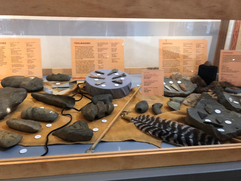 Native American Tools for Building, Exhibited in Wampanoag World: Patuxet to Plymouth, Image Courtesy of Pilgrim Hall Museum, Plymouth Massachusetts.
