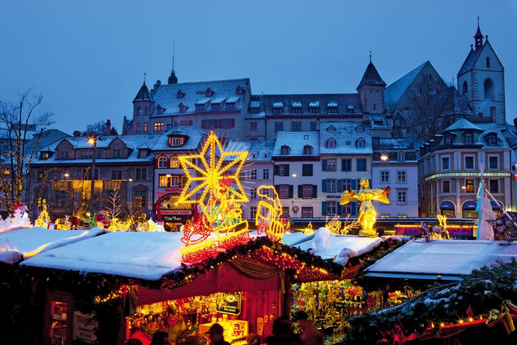 Switzerland Christmas market in Basel Barfusser