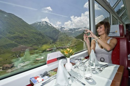 Alpine scenery captivates passengers on the Glacier Express route between Zermatt and St. Moritz.
