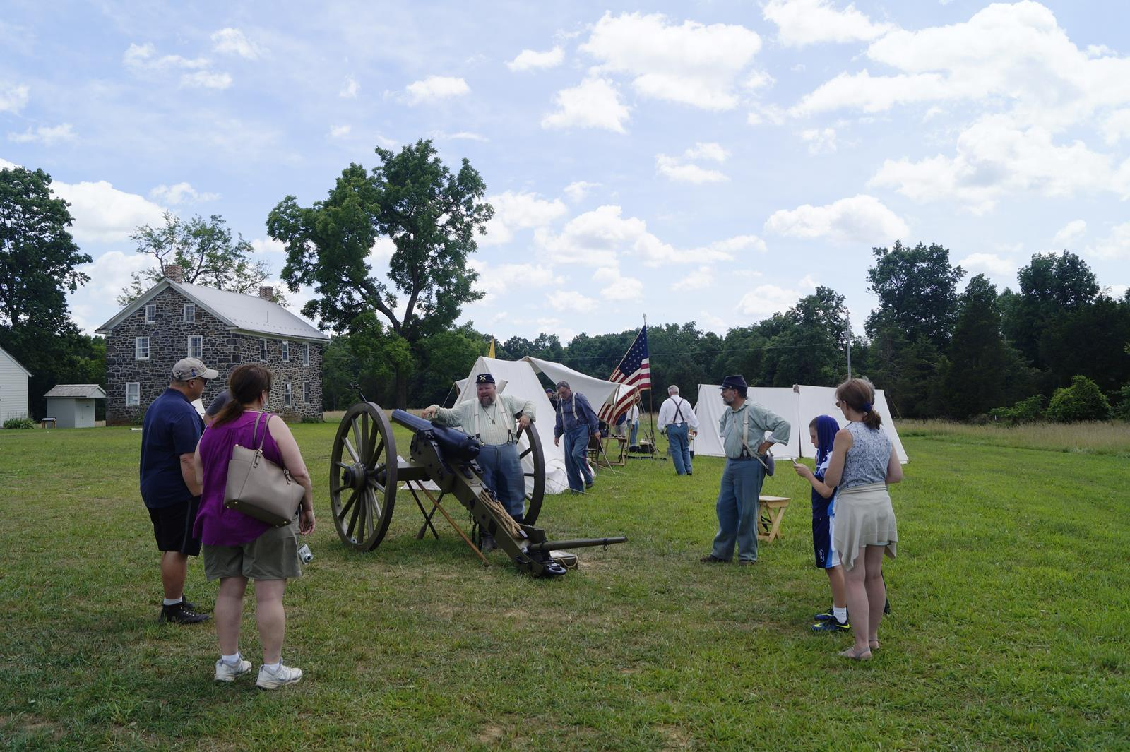 Visitors to Gettysburg Living History Encampment