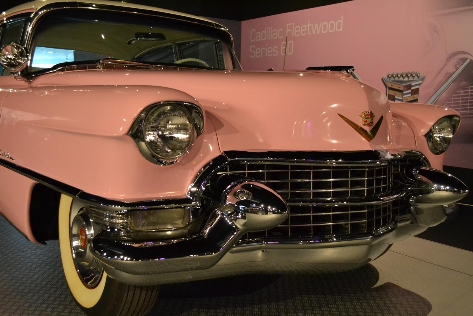 Elvis Presley's 1955 pink Cadillac Fleetwood is on display at Elvis Presley's Memphis.