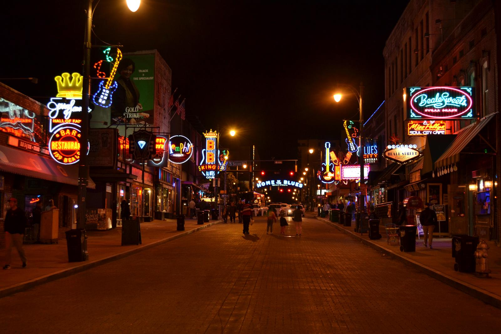 Beale Street in downtown Memphis teams with lights and music after dark