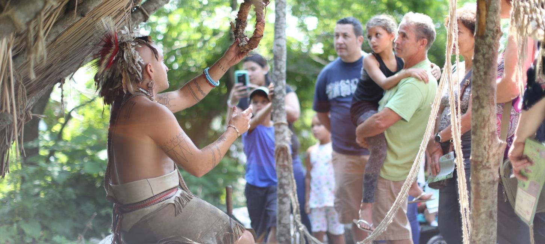 Historic reenactors explain Wampanoag technology, medicine and religion to Plimoth Plantation visitors