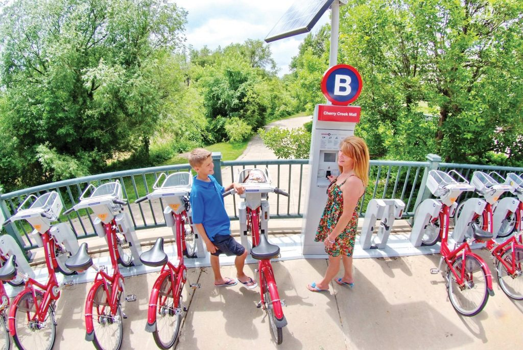 Denver's B-cycle program allows visitors to ride through the city's neigborhoods with a fleet of over 700 bikes across 88 stations.