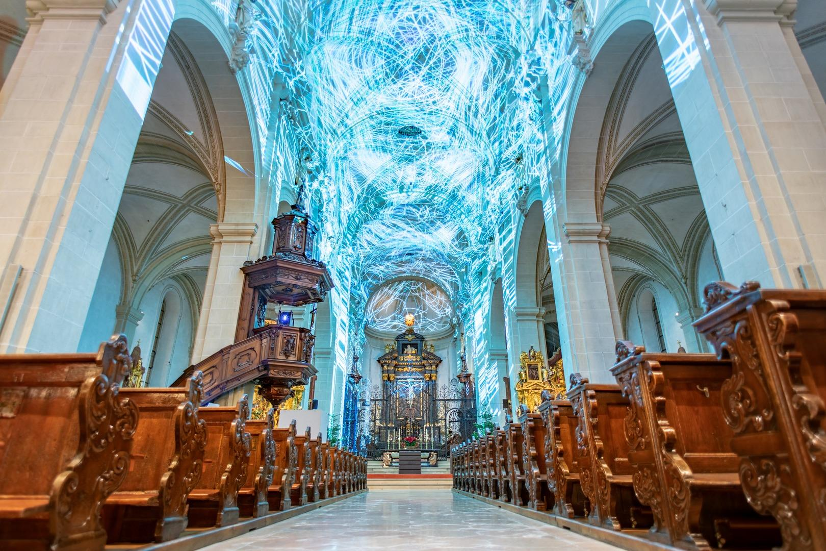 Genesis Light Show in the Hofkirche, the Church of St. Leodegar - LTAG/Elmar Bossard