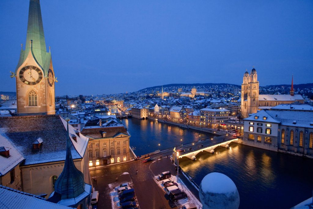 Zurich's Old Town sits on the River Limmat along with the Grossmünster Cathedral and Fraumünster Church.